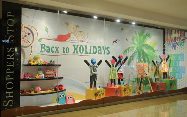 Featuring Kid's holiday range, the window epitomizes a day on the