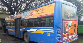 Wagh Bakri travels miles with bus branding in Bengaluru