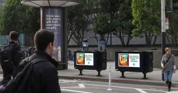 TV-size digital billboards straddle San Francisco streets
