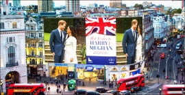 London's two biggest advertising screens join the Royal Wedding celebrations