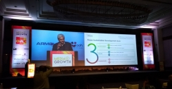 Pramod Bhandula makes a case study presentation on best green practices for OOH