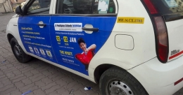 Educationista hops onto cabs to promote expo in Pune