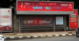 Check out Air Asia destinations on Bengaluru street furniture
