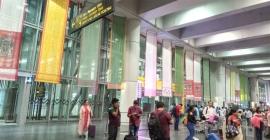 Biswa Bangla uses muslin sarees as display banners at Kolkata International Airport for promotions