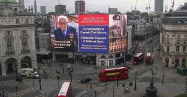 War veteran appears on Piccadilly Lights