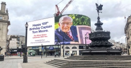 Piccadilly Lights joins centenary birthday celebrations for Captain Tom Moore