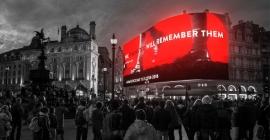 Emotive Armistice message on Piccadilly Lights