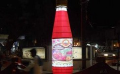 Giant Rooh Afza bottle amazes commuters in Varanasi